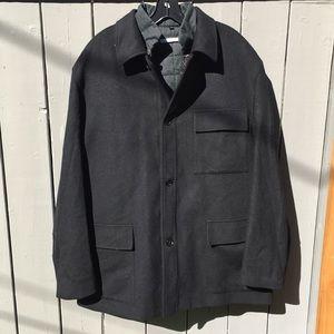 Carven Black Wool Overcoat Size 58